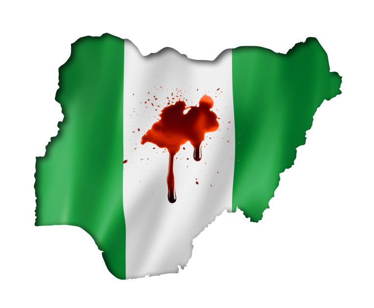 Nigeria map flag blood